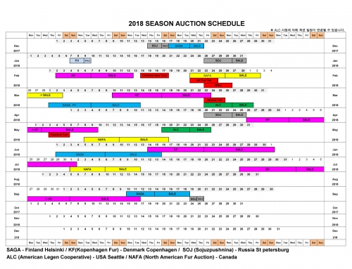 2018년 Auction Schedule